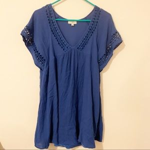 Umgee Blue Babydoll Mini Dress Large